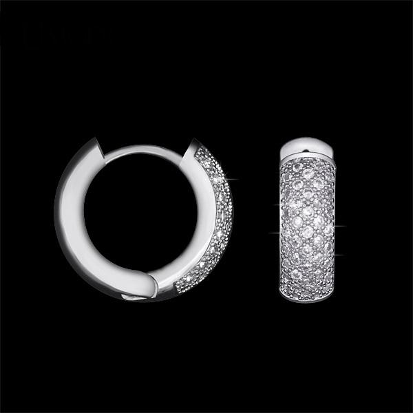 ค่างหูทองคำขาว 18k white gold plated ประดับเพชร CZ คุณภาพเยี่ยมเปล่งประกาย