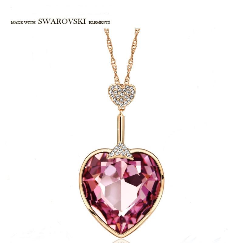 สร้อยคอทองคำ 14k rose gold plated พร้อมจี้ห้อยคอ Austrian Crystal แท้จาก Swarovski สีชมพูสวยมากค่ะ