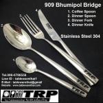 909 Bhumibon Bridge Coffee / Tea Spoon Dinner Spoon Dinner Fork Dinner Knife Handmade Rust-Proof Sta