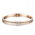 กำไลข้อมือทองคำสีชมพู 18k Rose Gold Plated ประดับเพชร CZ ดีไซน์เก๋