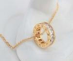 สร้อยคอทอง 10K สีแชมเปญโกล์ว พร้อมจี้ห้อยคอประดับเพชร CZ แบบวงแหวน