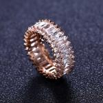 แหวนเงิน 925 หุ้มทองพิ้งโกล์ว 18KRGP ประดับเพชร CZ ดีไซน์หรู เกรดพรีเมี่ยม