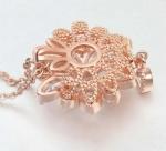 สร้อยคอทองสีชมพู พิ้งโกล์ว 18k Pink Gold Plated ประดับจี้ห้อยคอเพชร CZ ดีไซน์สวยหรู