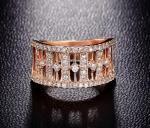 แหวนเงิน 925 หุ้มทองพิ้งโกล์ว 18KRGP ประดับเพชร CZ เกรด AAA