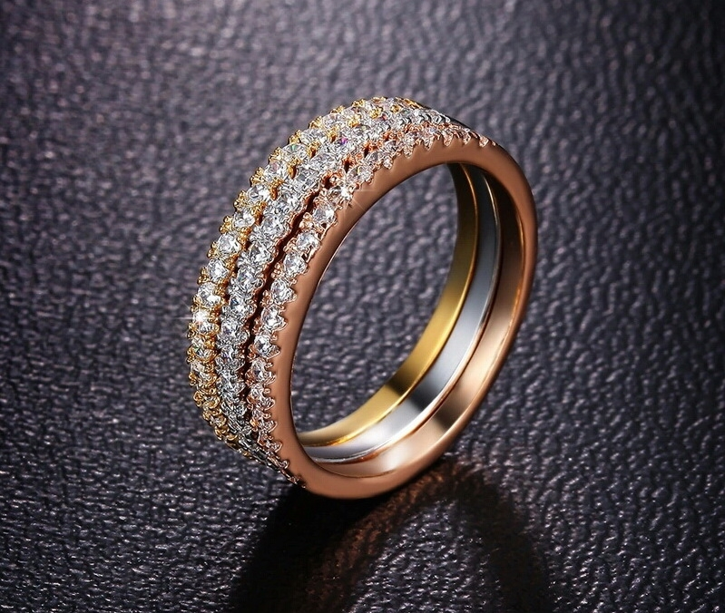 เซ็ตแหวนทอง 3 กษัตริย์ 18k gold plated ประดับเพชร CZ เปล่งประกาย