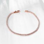 สร้อยข้อมือทองพิ้งค์โกล์ว 18k Pink Gold Plated ประดับเพชร CZ ทั้งชิ้น