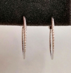ต่างหูทองคำขาว 18k gold filled แบบห่วงมีตัดลายเพิ่มความหรูหราเวลาสวมใส่ค่ะ