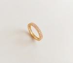 แหวนทอง 18K Champagne Gold Plated ประดับเพชร CZ สองแถวรอบวง
