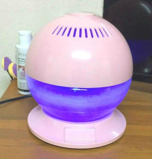 เครื่องฟอกอากาศระบบน้ำ ลูกโลกมีฐาน LED Rainbow แสงไฟเปิด/ปิดได้