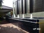 บ่อน้ำพุ-น้ำล้น 2 ชั้น ทรงน้ำพุต้นสน 5 หัว ที่ บ้านคุณยุพา ซ.แบริ่ง13