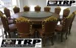 Trp.ทีอาร์พี ชุด โต๊ะ เก้าอี้ กระจก จานหมุน โต๊ะจีน เลซี่ ซูซาน Lazy Susan