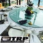 140 cm,หนา 12 cm กระจกกลมใสกระจกจานหมุนบนโต๊ะอาหารโต๊ะกินข้าวโต๊ะจีนโต๊ะจัดเลี้ยง,กระจกกลมหมุน,เรซีซ