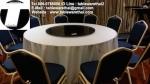 โต๊ะกลม โต๊ะจีน ขนาด 200 cm.นั่ง 14 คน โต๊ะกลม พับครึ่ง มีล้อ,หน้าขาวโฟเมการ์,ขา