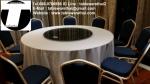 โต๊ะกลม โต๊ะจีน ขนาด 130 cm.นั่ง 7 คน โต๊ะกลม พับครึ่ง มีล้อ,หน้าขาวโฟเมการ์,ขาเ