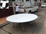 โต๊ะกลม โต๊ะจีน ขนาด 130 cm.นั่ง 7 คน โต๊ะกลม พับครึ่ง มีล้อ,หน้าขาวโฟเมการ์,ขาเหล็กชุปโครเมี่ยม