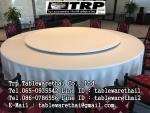 โต๊ะกลม โต๊ะจีน ขนาด 180 cm.นั่ง 12 คน โต๊ะกลม พับครึ่ง มีล้อ,หน้าขาวโฟเมการ์,ขาเหล็กชุปโครเมี่ยม