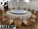 โต๊ะกลม โต๊ะจีน ขนาด 200 cm.นั่ง 14 คน โต๊ะกลม พับครึ่ง มีล้อ,หน้าขาวโฟเมการ์,ขาเหล็กชุปโครเมี่ยม