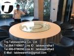 โต๊ะกลม โต๊ะจีน ขนาด 180 cm.นั่ง 12 คน โต๊ะกลม พับครึ่ง มีล้อ,หน้าขาวโฟเมกา