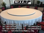 Trp.ทีอาร์พี โต๊ะกลม โต๊ะจีน ขนาด 150 cm.นั่ง 8 คน โต๊ะกลม พับครึ่ง มีล้อ,หน้าขาวโฟเมการ์,ขาเหล็กชุป