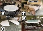 โต๊ะกลม โต๊ะจีน ขนาด 180 cm.นั่ง 12 คน โต๊ะกลม พับครึ่ง มีล้อ,หน้าขาวโฟเมการ์,ขา